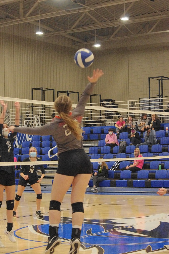 Karleigh Schoenberger with a kill against KCC