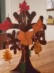 Gratitude tree w/ 8 leaves to list things families are grateful for
