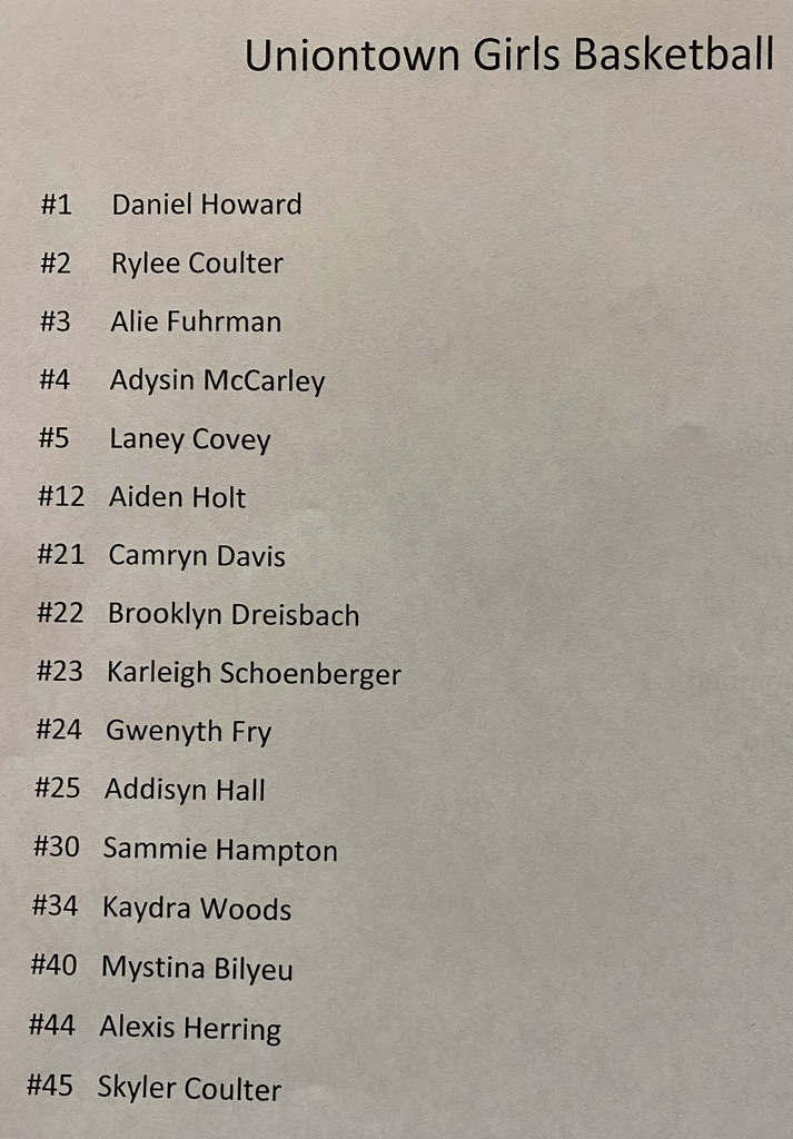 Uniontown HS Girls Basketball Roster