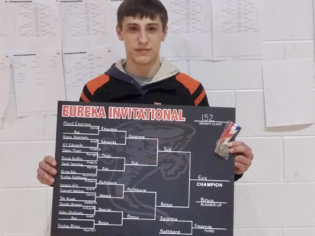 Picture of Bryce Eck with 152 pound championship bracket from Eureka Invitational Wrestling Tournament