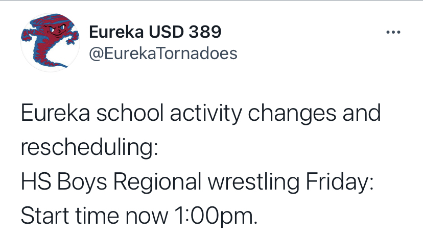 Eureka Twitter account picture stating Regional Wrestling start time has been moved to 1 PM at Eureka.
