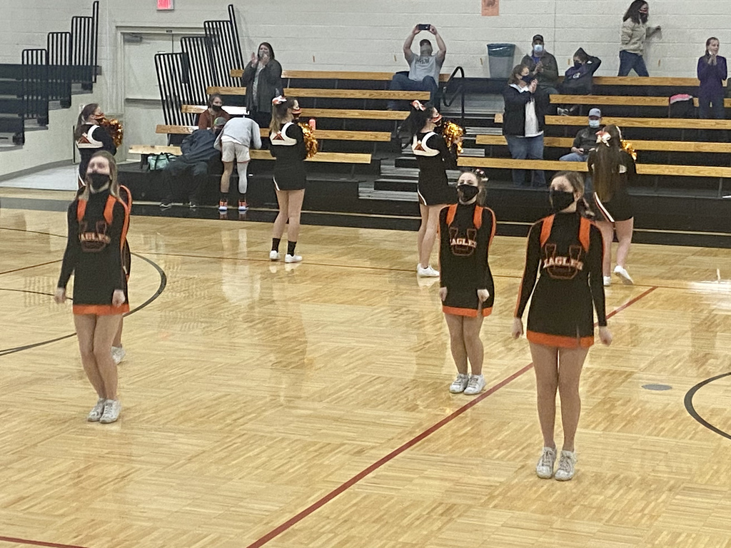 Uniontown Eagles Cheerleaders performing during a timeout at Marmaton Valley
