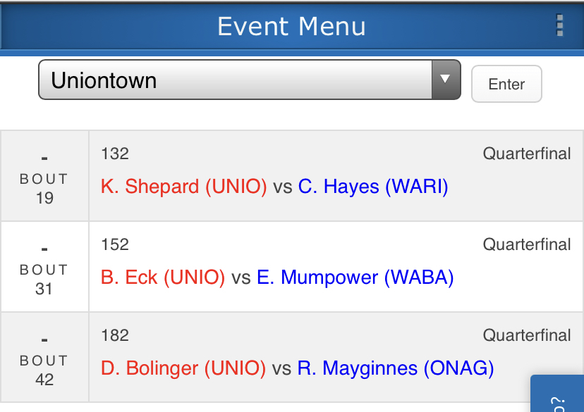 Match Schedule for Kane Shepard, Bryce Eck, and Dawson Bolinger at  3-2-1A SubState Wrestling Tournament in Marion, Kansas