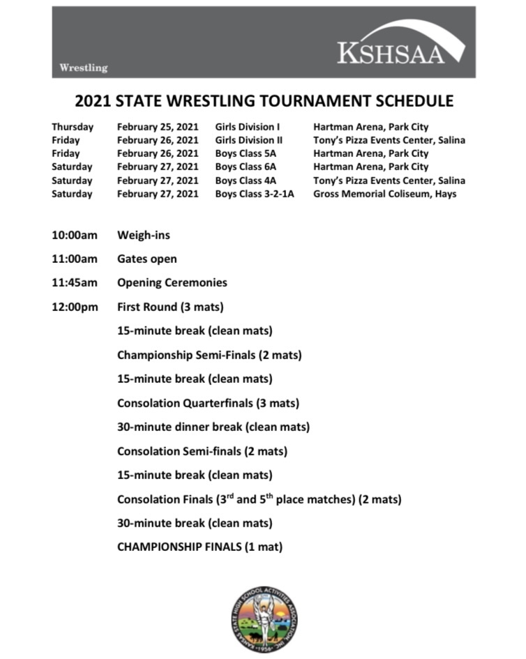 Wrestling Schedule for 3-2-1A State Wrestling found at www.kshsaa.org