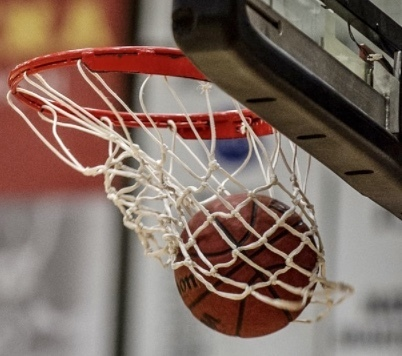 Picture of a basketball goal and basketball.