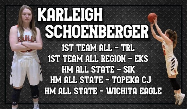 A picture of all of Senior Karleigh Schoenberger's post-season honors for 2021 basketball
