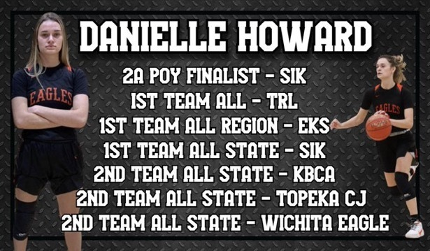 A picture of all of Junior Danielle Howard's post-season basketball honors for 2021