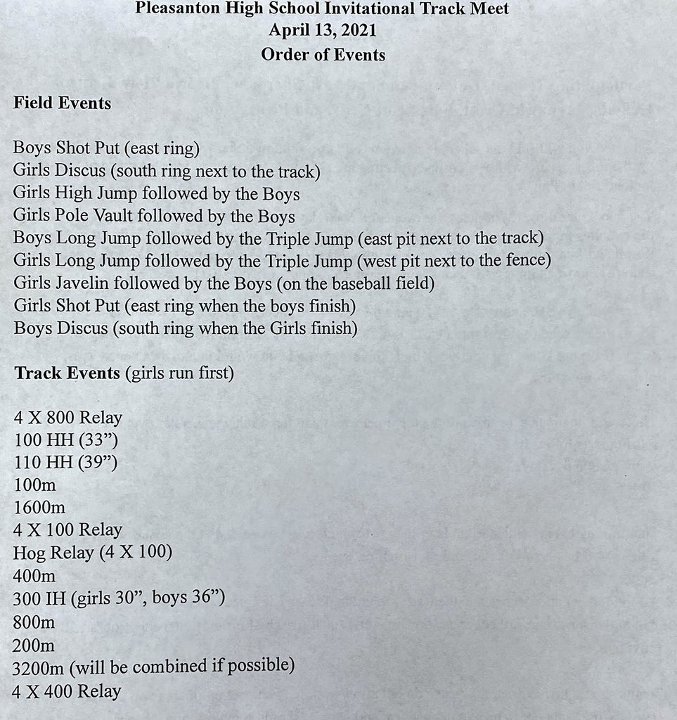 Pleasanton HS Track Meet Order of Events for Tuesday, April 13
