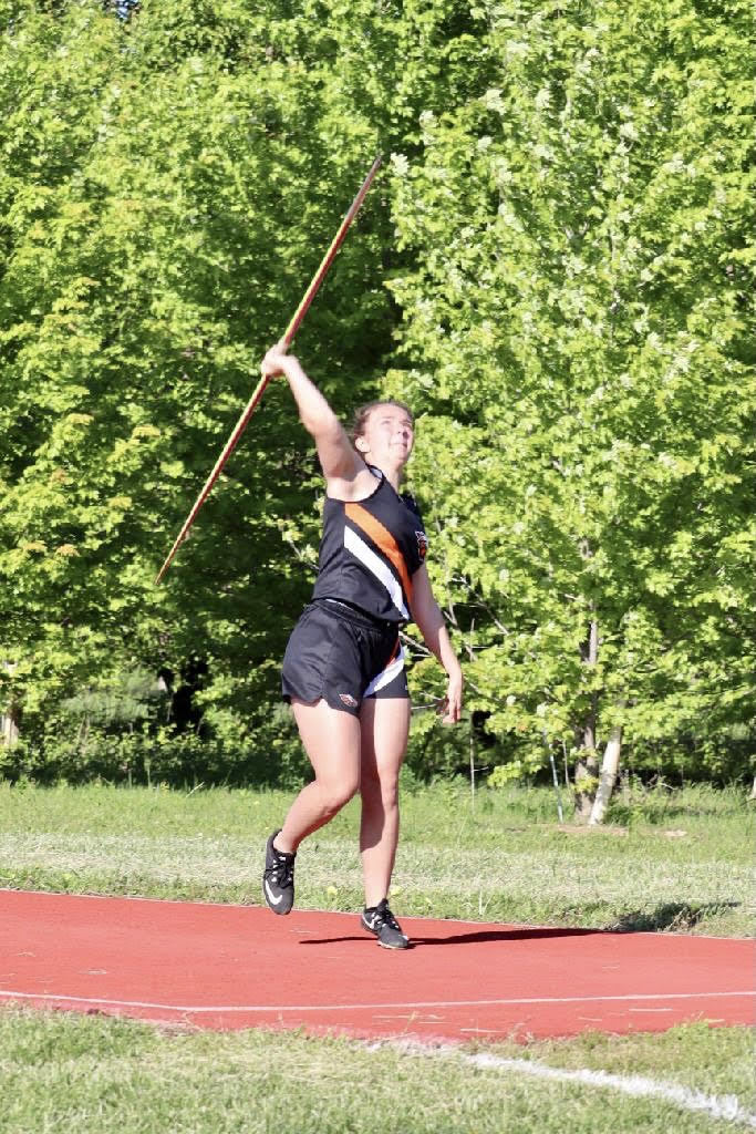 Sammie Hampton throwing the Javelin.