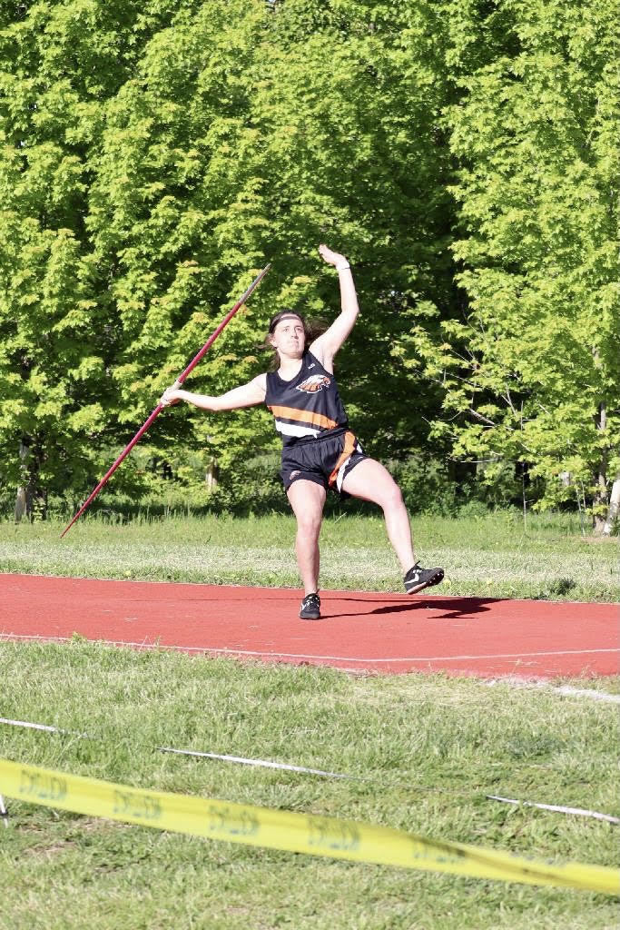 Aiden Holt throwing the Javelin.