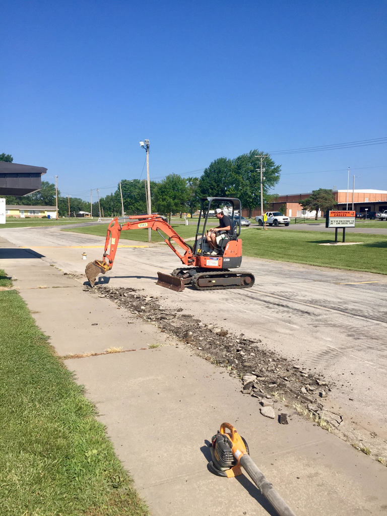 Prep work has begun on the WBE parking lot