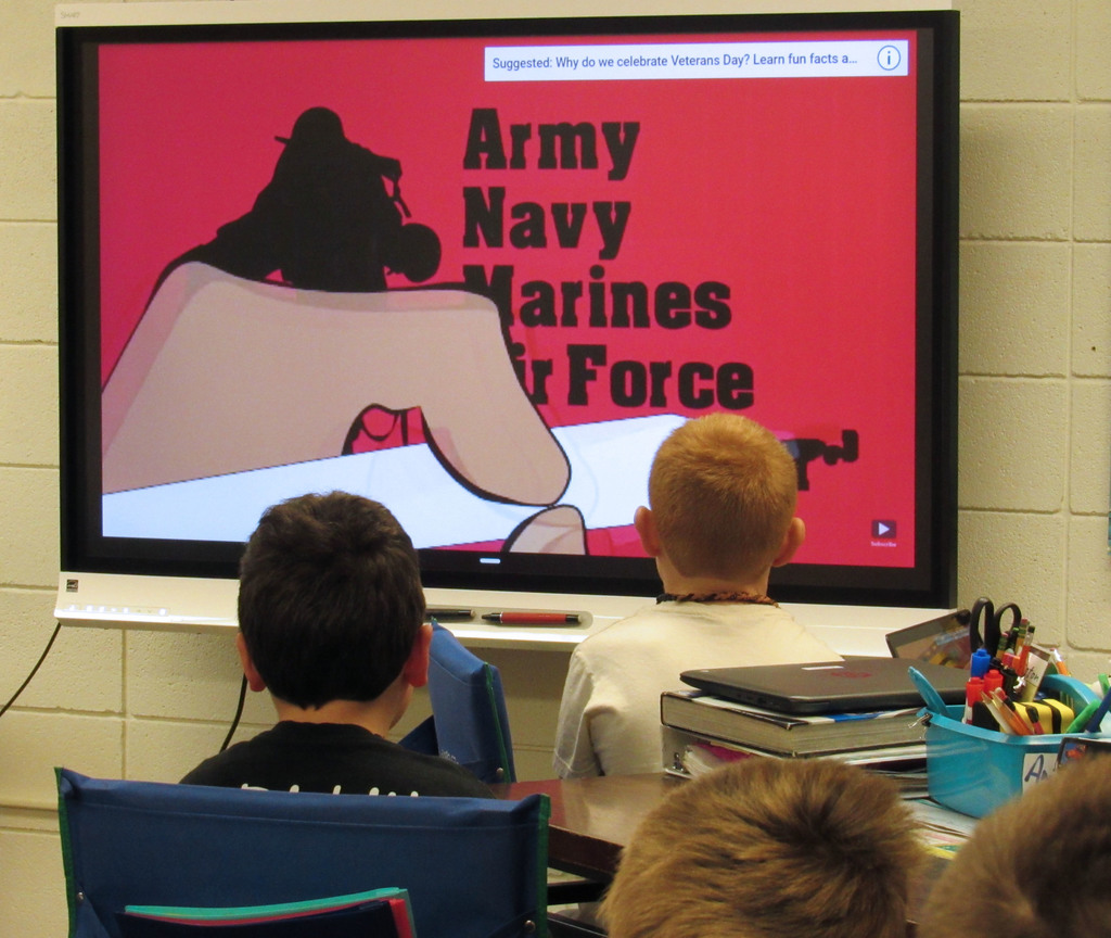 A Veterans Day information video watched before journaling and creating a project.