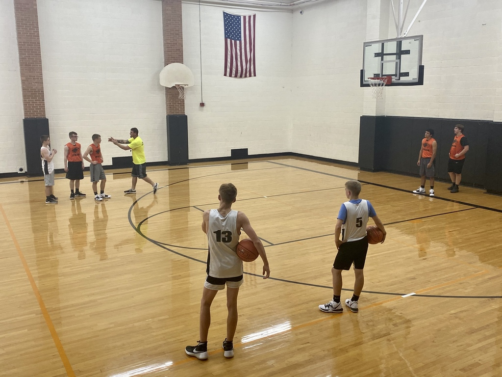HS Boys Basketball running through drills with Coach Marlow.