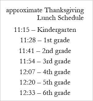 November 22nd Thanksgiving Lunch Schedule