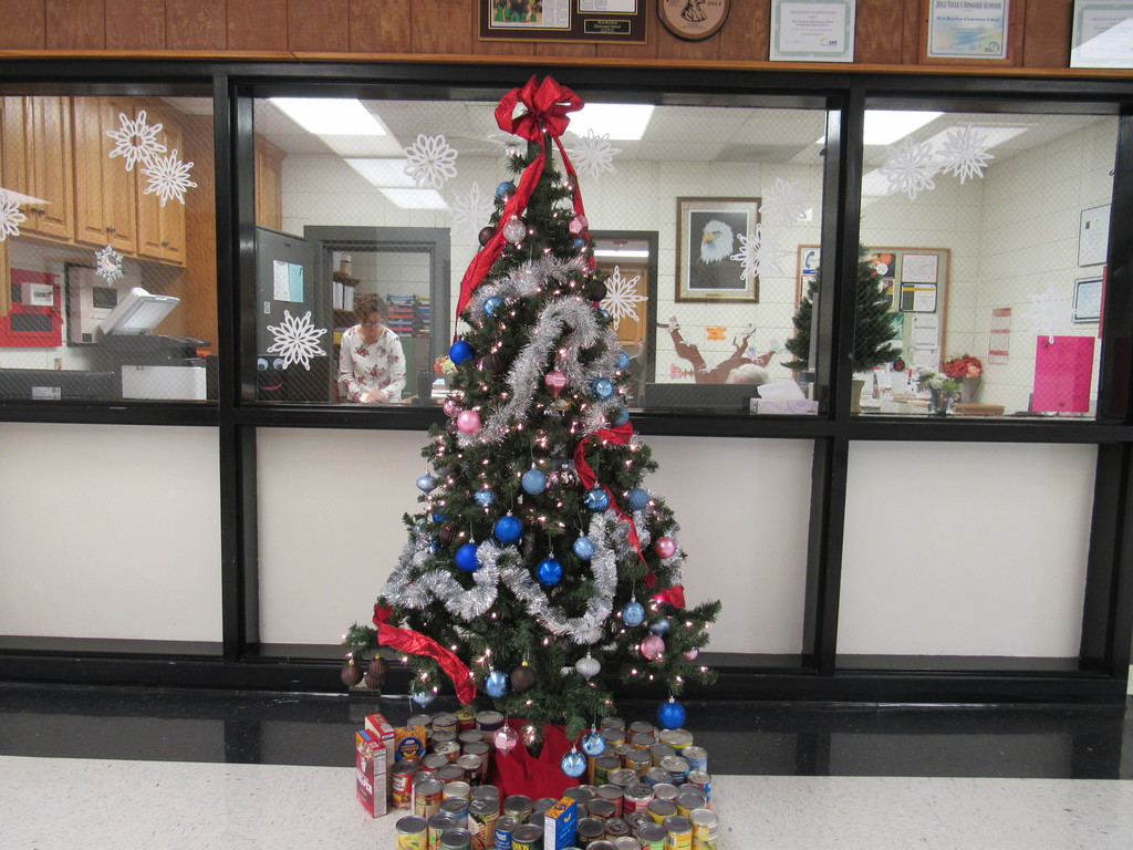 tree with canned goods under it