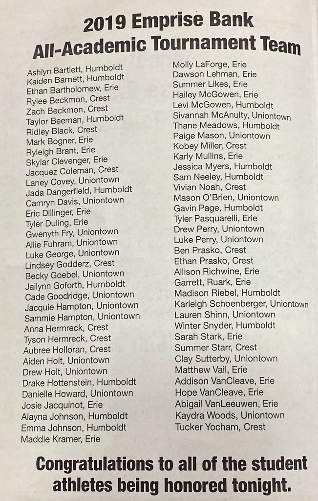 Picture of basketball program listing all students on Academic Team