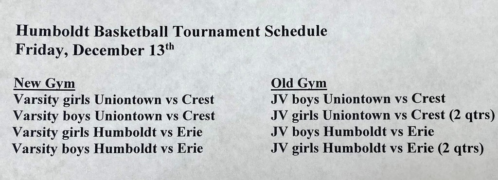 Picture of Basketball Schedule in program for Humboldt Tournament on Friday, December 13