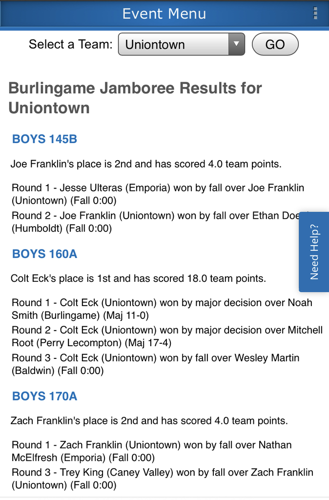 Uniontown Track Wrestling Results from Burlingame