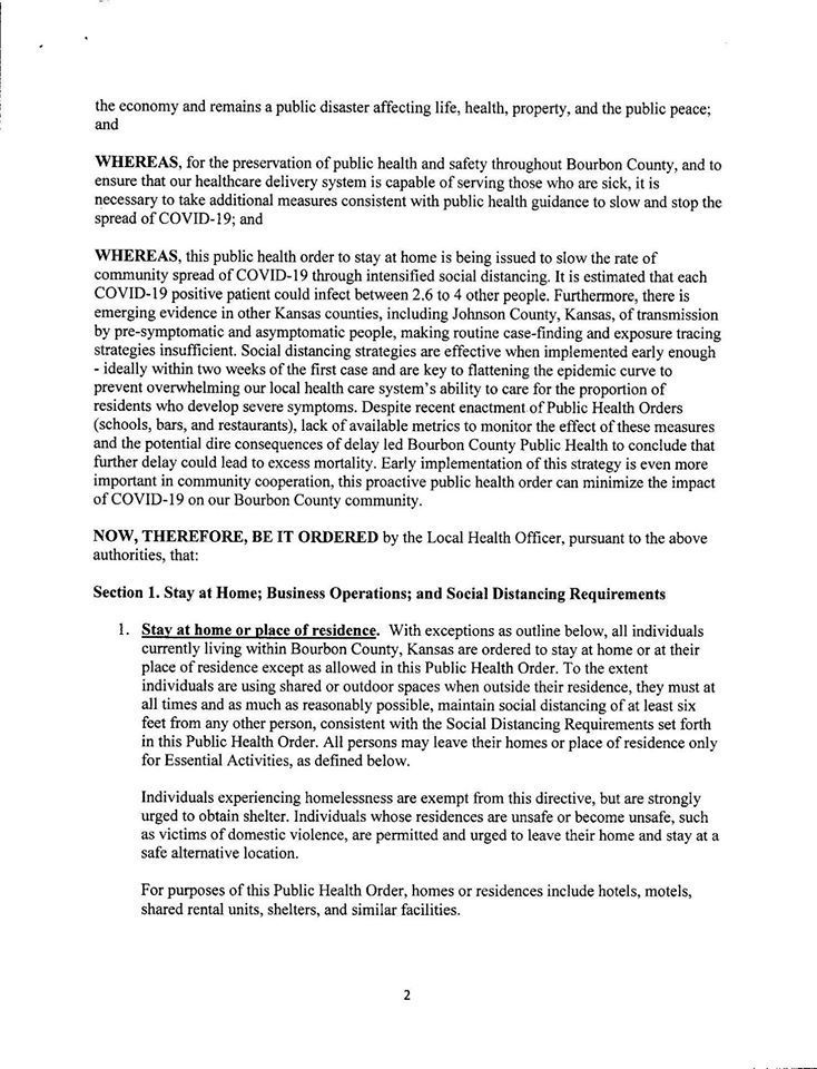 Bourbon County Health Department Stay At Home Order Page 2 of 5