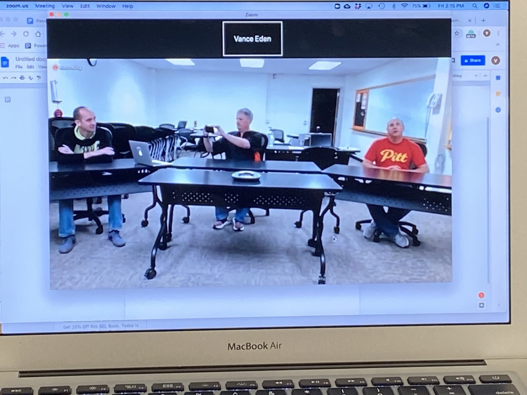 USD 235 Administration Team set up the Board Room today in preparation for USD 235 Continuous Learning Plan first Zoom Meeting on Monday, March 30.