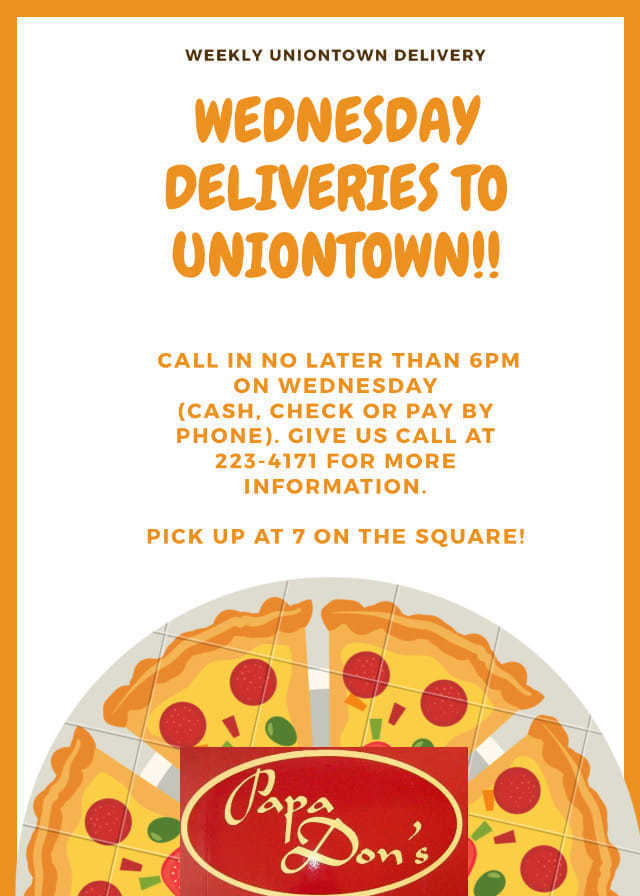 Papa Don's Pizza Ad for Uniontown Picture