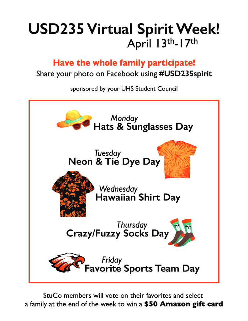 Virtual Spirit Week for ALL USD 235 students poster