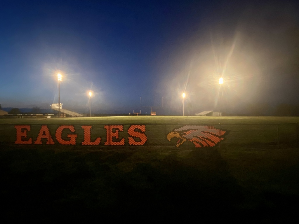 Eagles fence decoration in the foreground with Football Field under the lights in the background