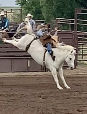 Colt Eck riding bareback during rodeo competition.