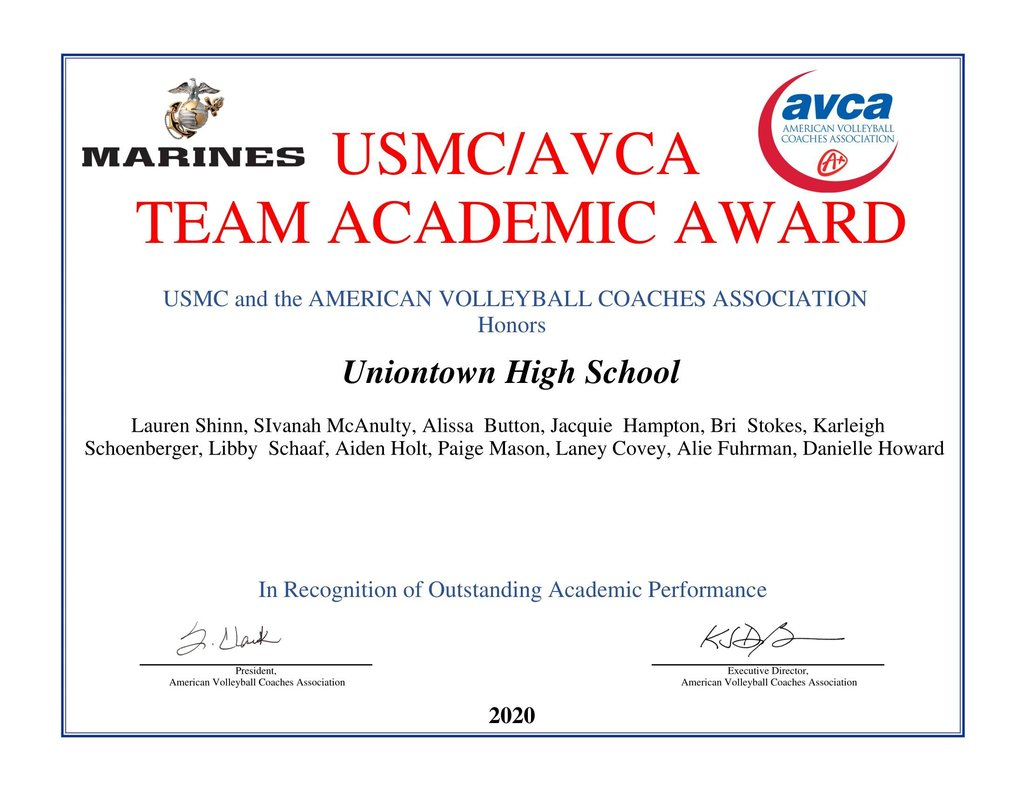 Picture of 2019-20 Varsity Volleyball Team Academic Award Certificate