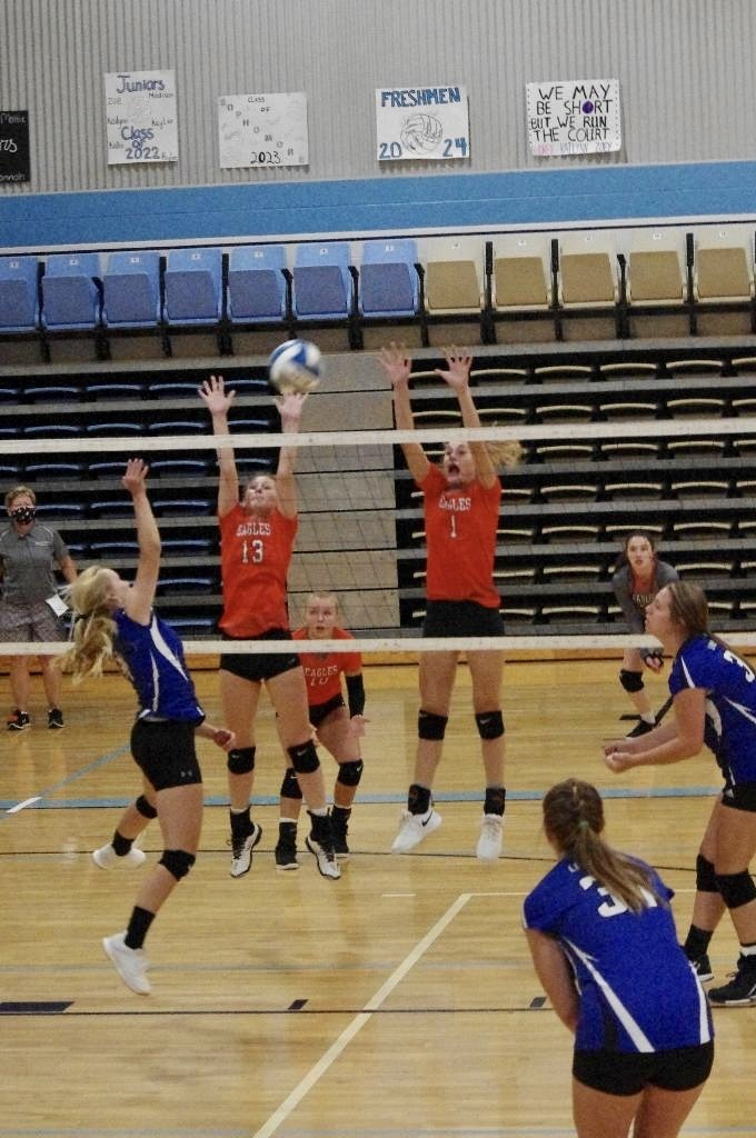 Picture of Pagie Mason (13) and Danielle Howard (1) going up for a block