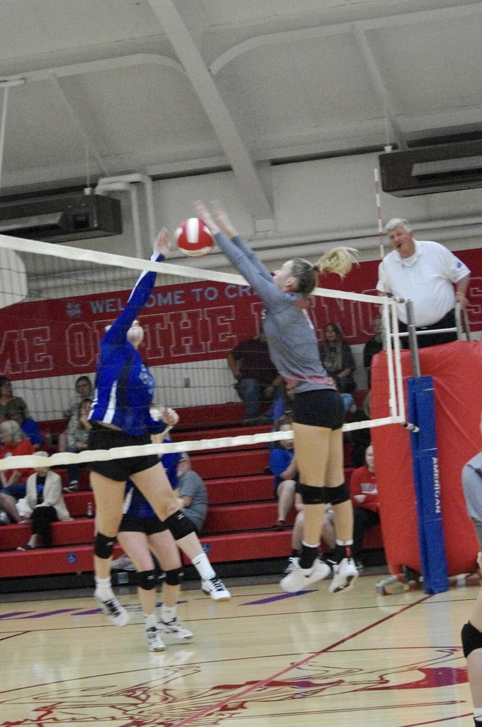 Danielle Howard with a block against Pleasanton