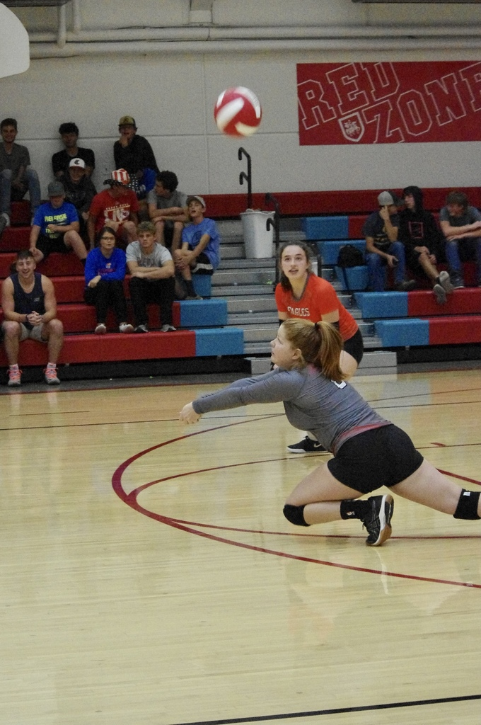 Allie Fuhrman with a successful dig from the back row.